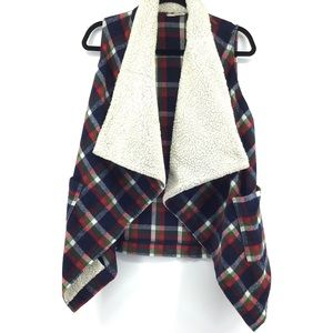 Hem & Thread Plaid Waterfall Wool Trim Vest